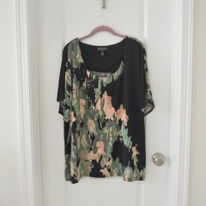 Black, Moss, and Peach Floral Patterned Top